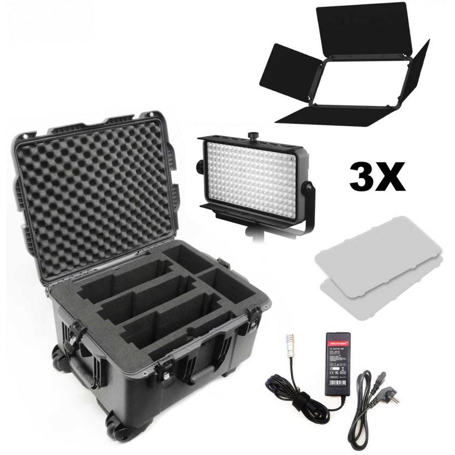 Practilite 802 - Kit avec 3 panneaux LED pour la production de vidéos sur le terrain